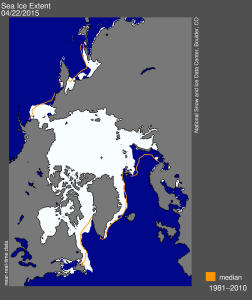Figure 2. Sea ice extent at 22 April 2015 (13.976 mkm2), courtesy NSIDC. Note Bering Sea ice is about average, top left of map, but ice in Davis Strait in Eastern Canada (bottom centre) is well above average.