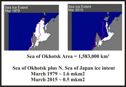 Figure 3. Comparing sea ice extent over the Sea of Okhotsk and northern Sea of Japan for 1979 and 2015 (extents approximate).