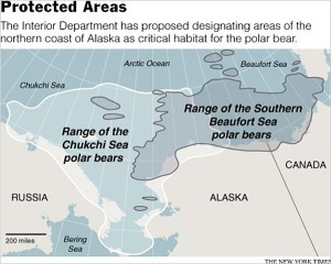 "Figure 2. Chukchi Sea and Southern Beaufort Sea polar bear habitat overlaps along much of the north coast of Alaska (about 1/2 of ""critical habitat"" designated: map accompanying ""Polar Bear Habitat Proposed for Alaska"" (New York Times, October 22, 2009)"