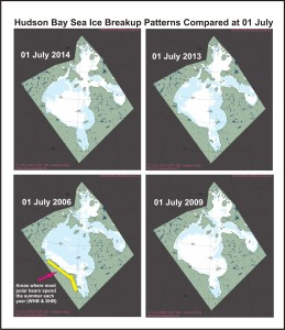 Figure 8. Hudson Bay sea ice patterns compared at 01 July (Region 10, day 182), which has been the average date of breakup since 1991: 2014, 2013, 2006, 2009. NSIDC MAISE products archive. Note that 2009 had one of the latest breakup dates on record (30 July), while 2006 was relatively early (mid-June). Breakup ice patterns and dates for Hudson Bay are variable year to year, as is ice cover over Hudson Strait. http://en.wikipedia.org/wiki/Hudson_Strait Click to enlarge.