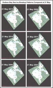 Figure 5. Comparing 2015 at 21 May (upper left) to 2009, 2010, 2011, 2006, and 2007. Original maps found here. Click to enlarge.