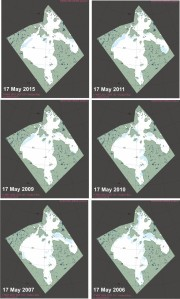 Figure 5. Hudson Bay breakup patterns for 17 May (Region 10, day 137) compared: 2015, 2011, 2009, 2010, 2007, 2006. NSIDC MAISE products archive. Note that 2009 had one of the latest breakup dates on record (30 July), while 2006 was relatively early (mid-June). Comparing the current year to only one previous year is uninformative because breakup patterns and dates are so variable year to year. Click to enlarge.