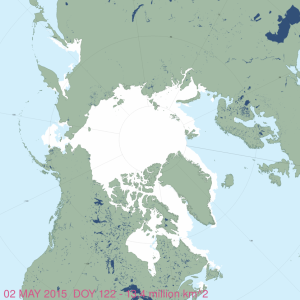 Figure 5. MASIE sea ice map for 2 May 2015, day 122.