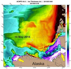 SB polynyas on ice thickness map 14 May 2015_PolarBearScience