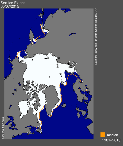 Sea ice extent 2015 May 7 NSIDC