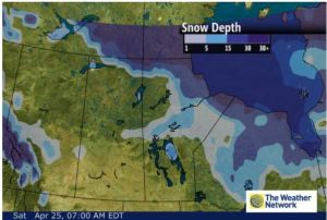 Figure 2. Snow depth over North America, including Hudson Bay, at 25 April 2015. Courtesy The Weather Network.
