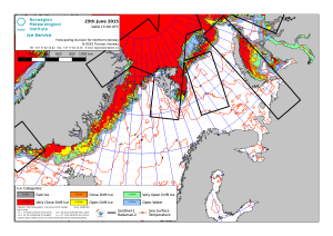 Figure 7. Barents Sea ice concentration at 25 June 2015. NIS.