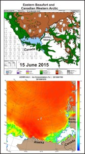 Figure 6. Beaufort Sea ice age for the week of 15 June 2015 (top), CIS; Beaufort sea ice concentration at 17 June 2015 (bottom), NRL. Click to enlarge.
