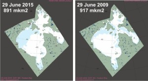 Hudson Bay breakup 2015 vs 2009 at 29 June_MASIE