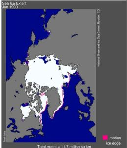Figure 4. Sea ice extent average for June 1990 (end of June), according to NSIDC. Breakup for Hudson Bay in 1990 was said to have occurred at the beginning of June (2-6). How is that possible with this much ice showing as the June average (which is usually quite similar to the extent for the end of the month). Click to enlarge.