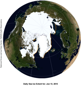 Figure 3. Global sea ice extent for the Arctic, NSIDC for 13 June 2015. A little below average but still lots of polar bear habitat remaining in all subpopulation regions. Courtesy WUWT Sea Ice Page.