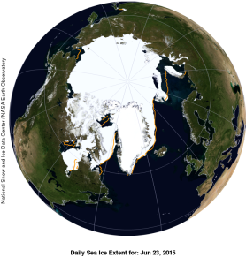 Figure 8. Global sea ice extend with anomaly for 23 June 2015. NSIDC,  courtesy. WUWT Sea Ice Page.
