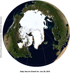 Figure 7. Sea ice extent at 29 June 2015. Courtesy NSIDC and WUWT Sea Ice Page.