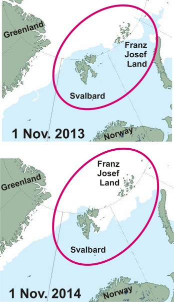 Figure 2. Barents Sea ice coverage at 1 November 2013 (top) and 2014 (bottom). Click to enlarge.
