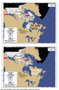 Figure 3. Sea ice in Canada 2015 vs. 2014 at 14 July. Hudson Bay, Davis Strait and Eastern Beaufort Sea.