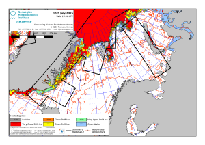 Figure 2. Barents Sea ice map from Norwegian Ice Service.