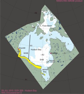 Hudson Bay breakup 2015_28 July onshore locations