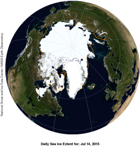Figure 1. Sea ice extent with anomaly. NSIDC. Click to enlarge.