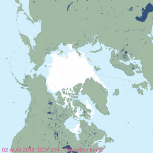 Figure 3. Arctic sea ice extent at 2 August 2015. 7.0 mkm2. NSIDC MASIE, original here.