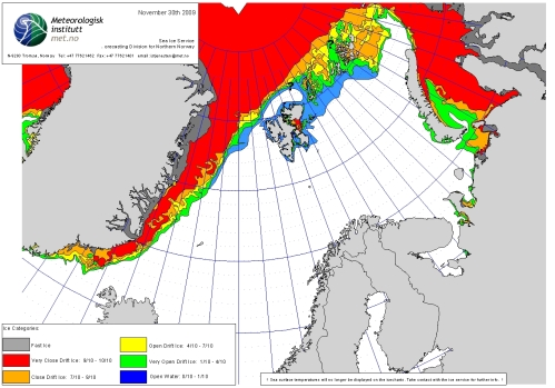 Barents Sea ice extent 2009 November 30_NIS