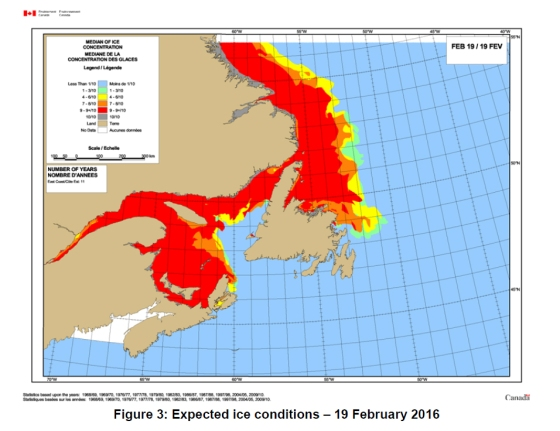 2016 Newfoundland Ice outlook for 19 Feb 2016_at Dec 1 2015