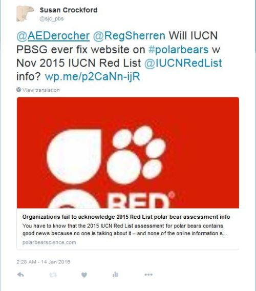 PSB tweet_re IUCN PBSG Red List_14 Jan 2016