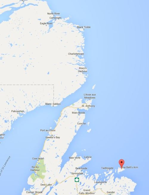 Labrador south and Fogo Nfld marked