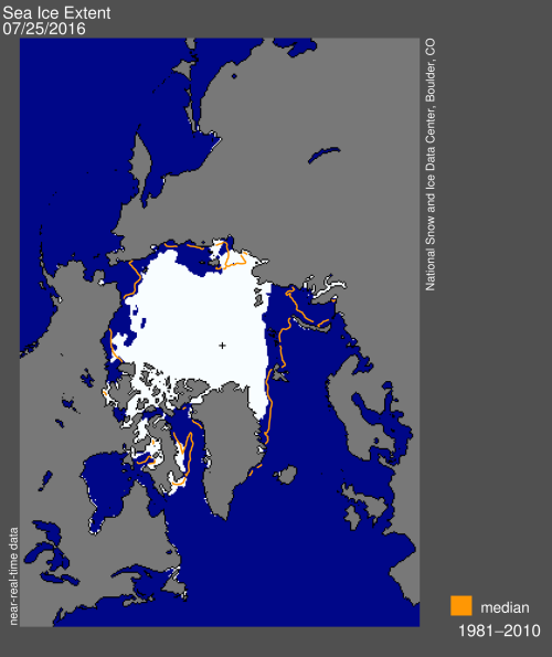 Sea ice extent 2016 July 25_NSIDC