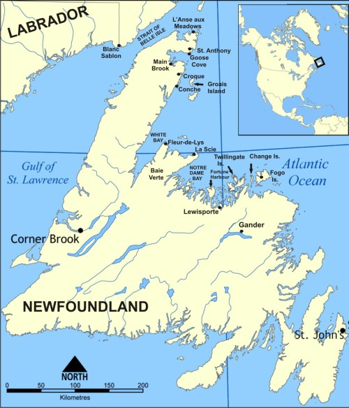 Newfoundland map marked 3 inches