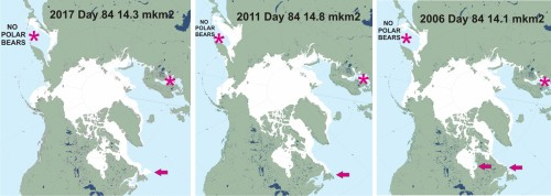 Sea ice day 84 March 25 2017_2011_2006 labeled