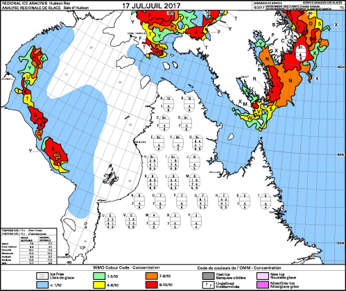 Hudson Bay weekly ice concentration 2017 July 17