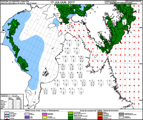Hudson Bay weekly ice stage of development 2017 July 17