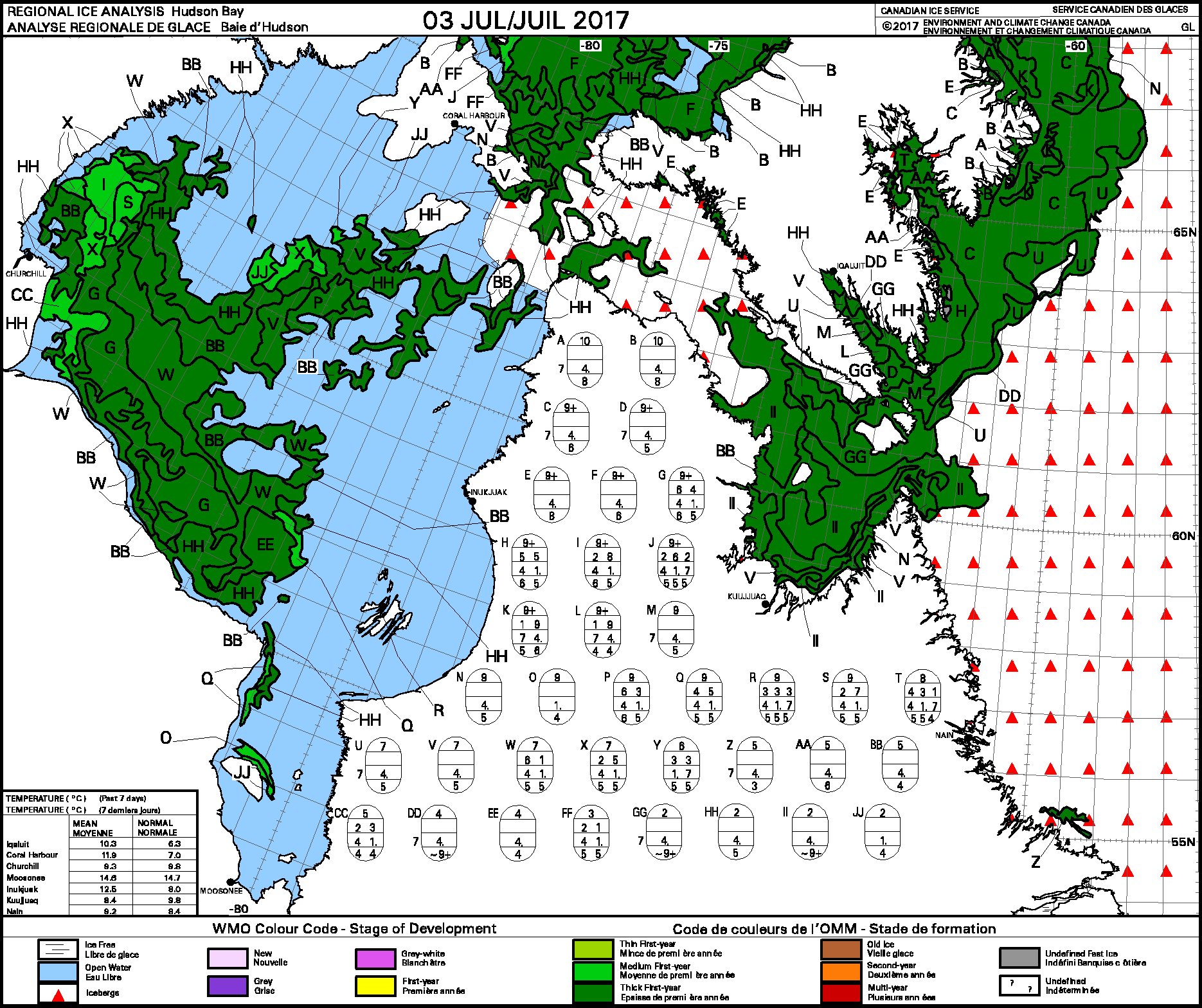 Hudson Bay weekly ice stage of development 2017 July 3