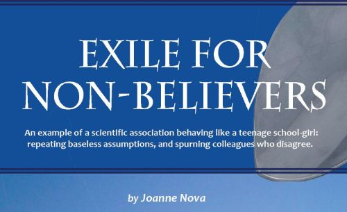 Exile for non-believers_JoNova 2009 title