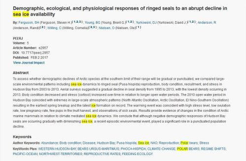 Ferguson et al. 2017 WHB ringed seals Web of Science