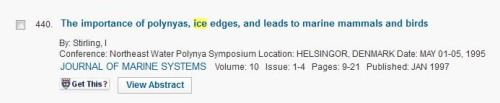 Stirling 1995 importance of polynyas_conference paper_Web of Science