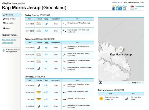 Cape Morris Jesup weather at 25 Feb 2018 Norwegian