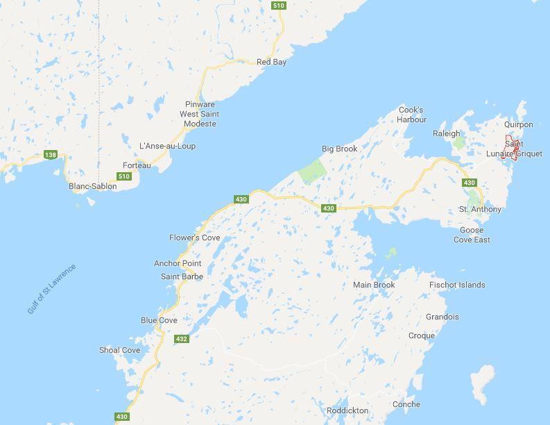 Saint Lunaire Griquet Newfoundland location_Google maps
