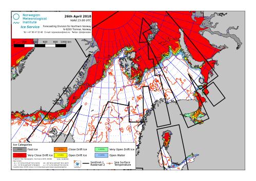 Barents Sea ice extent 2018 April 26_NIS