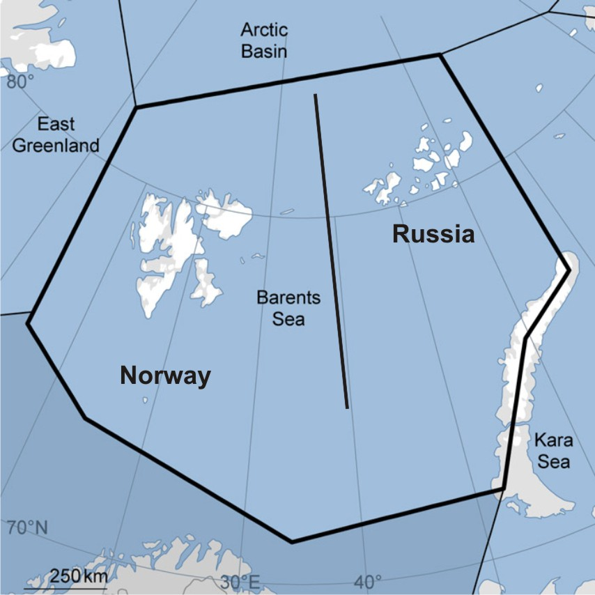Barents Sea split by country