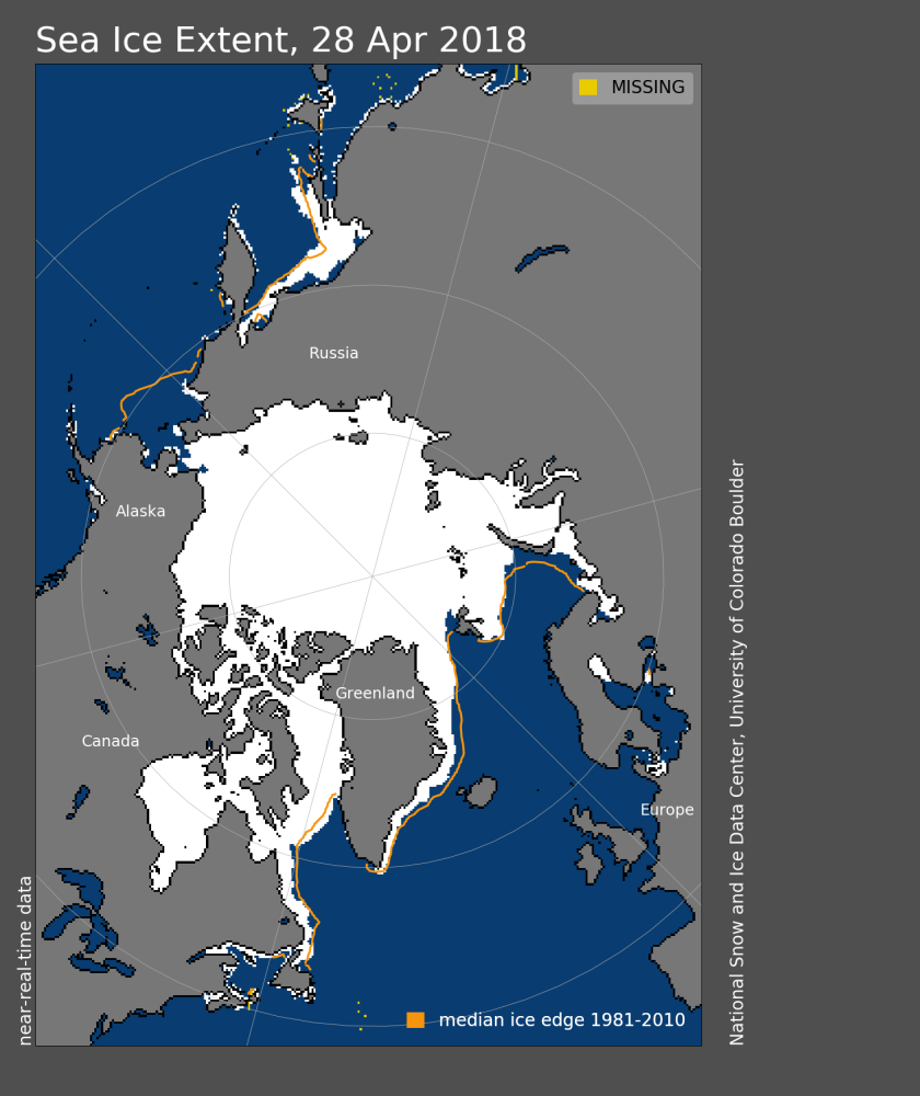 Sea ice 2018 April 28 NSIDC