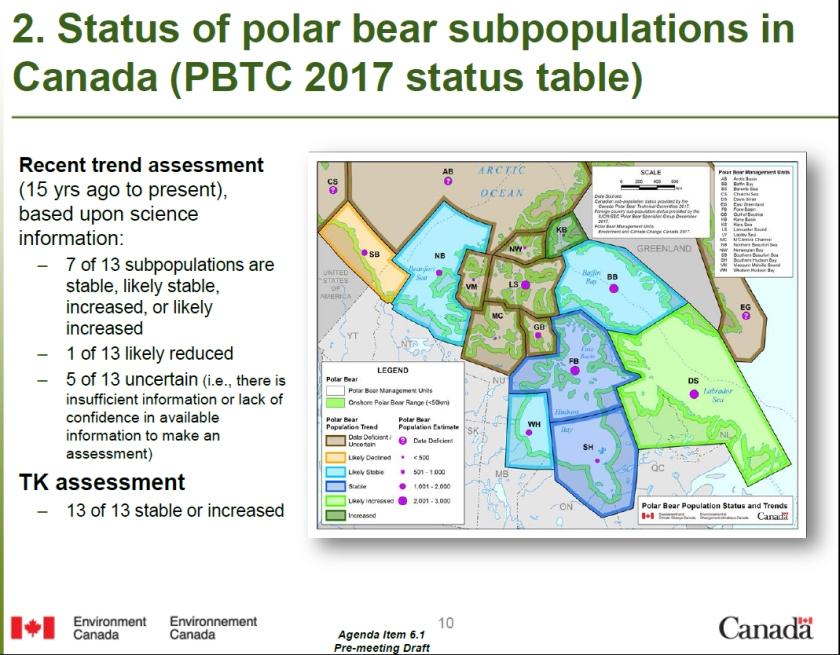 Canada Polar Bear Status at 2017 PBTC