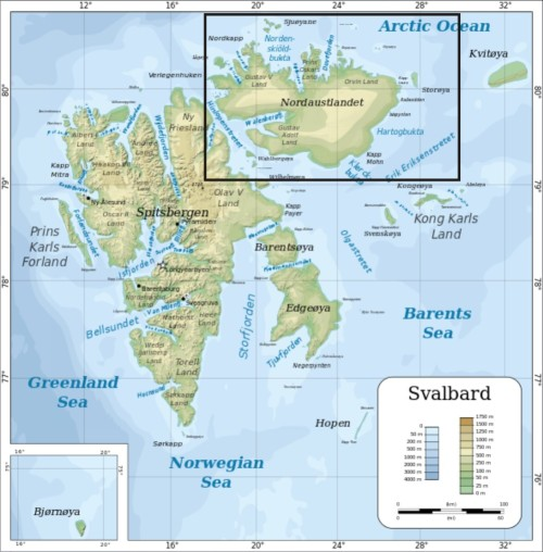Svalbard northernmost island map