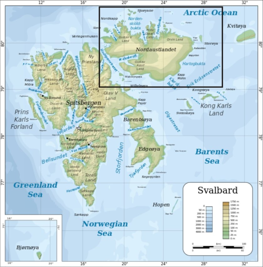 Svalbard northernmost island map