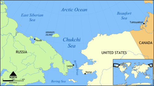 Wrangel Island Chukchi_Sea_map location wikipedia sm