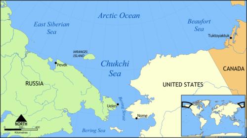 Wrangel Island Chukchi_Sea_map location wikipedia sm