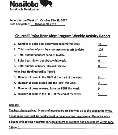 Churchill PB reports_week 16_23-29 Oct_2017_week 10 and 13 missing