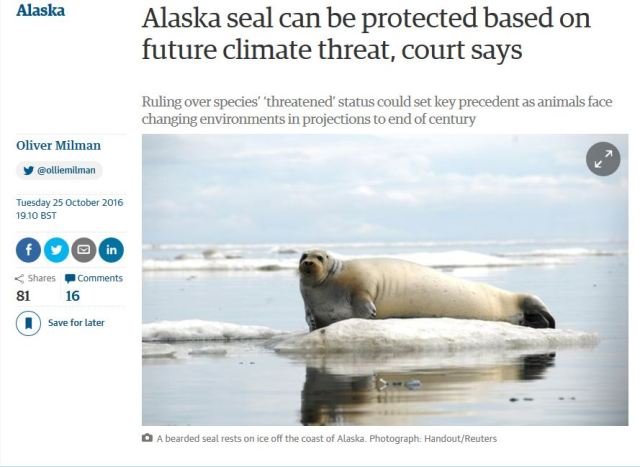 Bearded Seal_25 Oct 2016_9th Circ. Backs Climate Predictions_The Guardian headline
