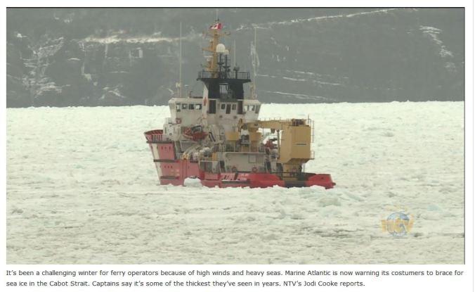Cabot Strait sea ice 8 March 2019 NTV video screencap