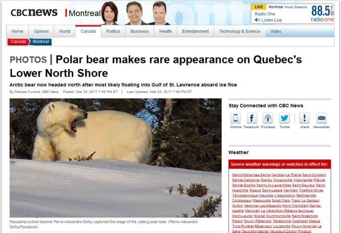 Gulf St Lawrence North shore PB visit 22 March 2017_CBC headline